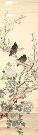 ANONYMOUS Birds and Flowers ink and colour on silk, five hanging scrolls various sizes. (5) 佚名   花鳥圖