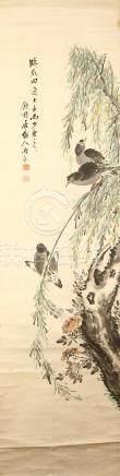 WANG YUZHEN Bird and Flowers ink and colour on paper, three hanging scrolls cm. (3) 王玉震 花鳥圖 設色紙本
