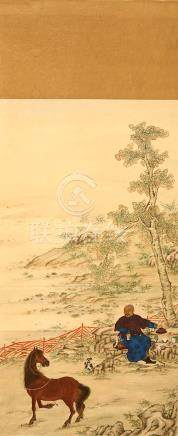 ANONYMOUS Scholar at Ease ink on paper, hanging scroll dated Daoguang shiwu nian (1835) 86.5 x 46cm.