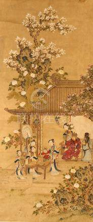 ANONYMOUS Official with Attendants ink on paper, two hanging scrolls cm. (2) 佚名 人物園景圖兩幅 設色紙本 立軸