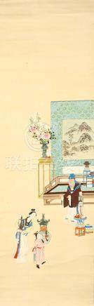 ANONYMOUS Interior Scenes ink and colour on paper, eight hanging scrolls 110 x 31.5cm. (8) 佚名