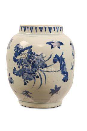 A CHINESE BLUE AND WHITE LANTERN JAR. Transitional era. The globular body with a tapering rim and
