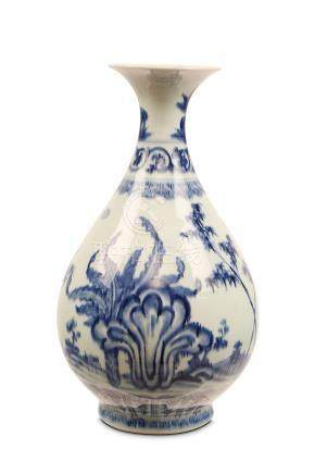 A CHINESE BLUE AND WHITE 'GARDEN SCENE' YUHUCHUNPING. Qing Dynasty, Yongzheng era. Of elegant pear-
