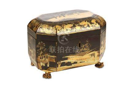 A CHINESE GILT-DECORATED BLACK LACQUER 'TEA CULTIVATION' TEA CADDY. Qing Dynasty, circa 1830. Of