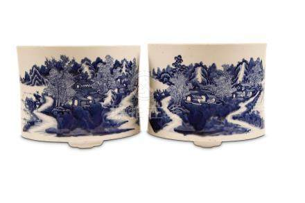 A PAIR OF LARGE CHINESE BLUE AND WHITE 'LANDSCAPE' JARDINÈRES. Qing Dynasty, 18th Century. Of