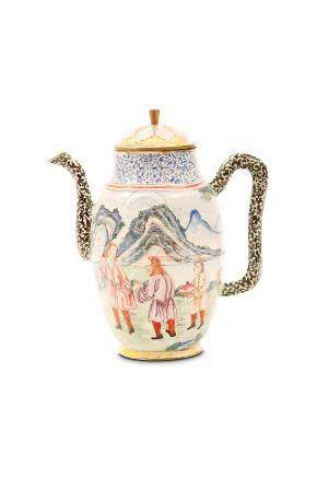 A CHINESE CANTON ENAMEL 'EUROPEAN SCENE' COFFEE POT AND COVER. Qing Dynasty, 18th Century. The