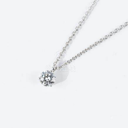 Pendentif diamant solitaire et sa chaîne en or gris 750 millièmes (18K)