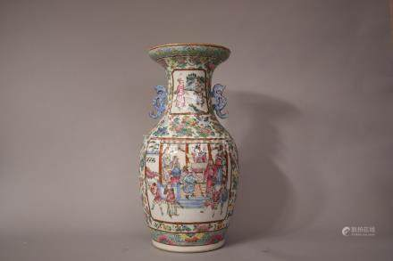 C19th Chinese famille rose twin-handled vase decorated with panels of figural scenes, 45cm high.
