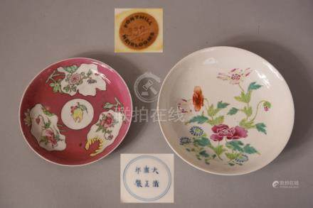 Chinese famille rose dish decorated with floral, Yongzheng six-character mark to base and period,