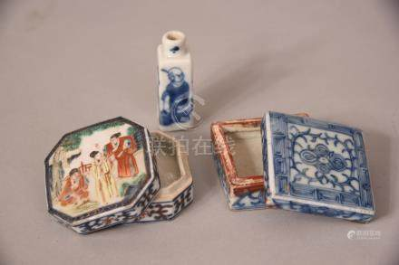 2 Chinese ink boxes & covers, Qing dynasty, 6.2cmL max; together with a blue & white figural snuff