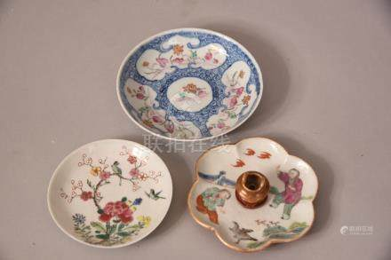 Three C18th/19th Chinese famille rose dishes, the first painted with a bird perched on flower