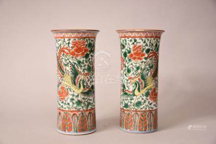 Pair of C19th Chinese famille verte 'phoenix and peony' cylindrical vases, 24cm high. (2)