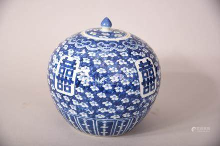 C19th Chinese blue and white jar and cover decorated with prunus and bamboo, 23.5cm high.
