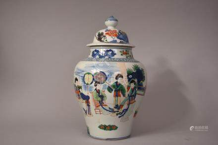 Kangxi-style Chinese famille verte baluster jar and cover decorated with courtier characters