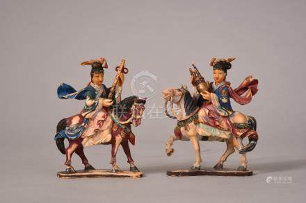 Pair of C19th Chinese stained ivory carvings of musicians on horseback, 9cmH (2)