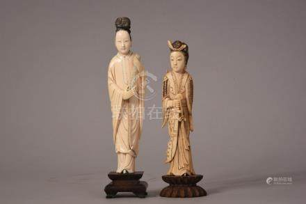 Two C19th Chinese carved ivory figures of ladies, 20cm high max, wood stands. (2)