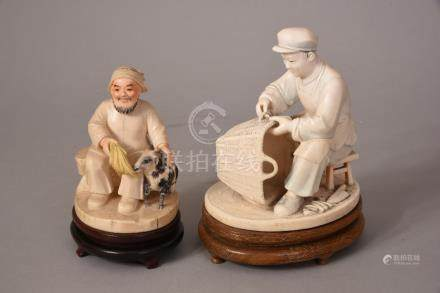 2 late C19th Chinese stained ivory carvings of seated figures, 15cmH max, wood stands. (2)