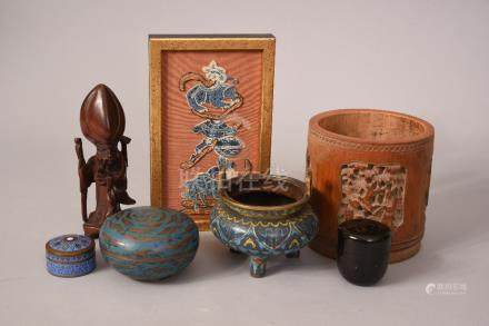 Mixed lot to include C19th Chinese cloisonne tripod censer 9cm high, two cloisonne boxes and covers,
