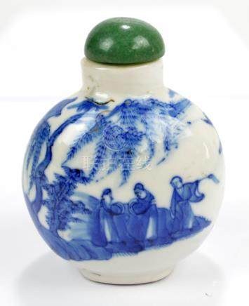 A Chinese porcelain snuff bottle of flat globular form painted in underglaze blue with