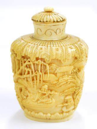A 19th century Chinese carved ivory snuff bottle of oval tapering form overall decorated with