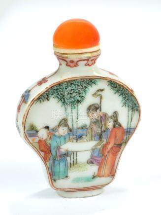 A Chinese porcelain Famille Verte snuff bottle of flat inverted baluster form,