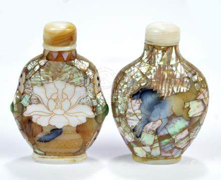 A Chinese mother of pearl veneered snuff bottle of flat ovoid form decorated with a horse to each