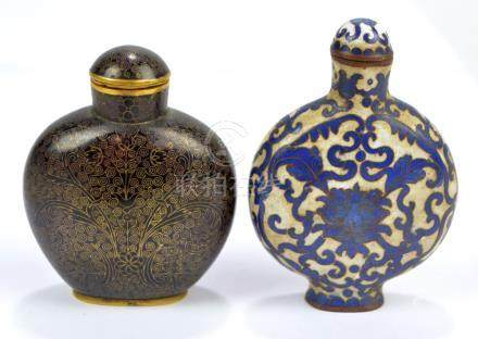 A late 19th century Chinese blue and white cloisonné enamel decorated snuff bottle of flat circular
