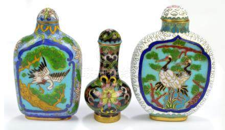 A 19th century Chinese cloisonné enamel decorated snuff bottle with globular body and slender neck,