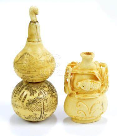 A 19th century Chinese turned ivory snuff bottle modelled as a double gourd vase,