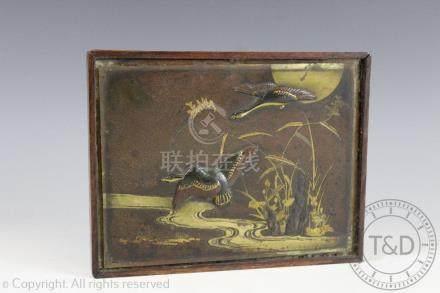A Japanese bronze plaque, Meiji period,