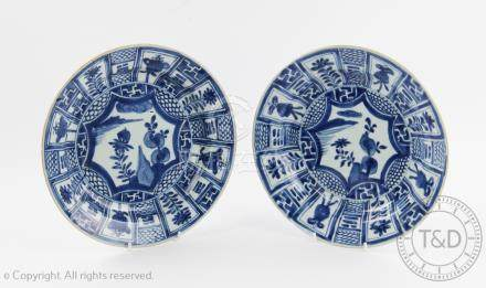 A pair of 17th century Chinese porcelain Kraak style plates,