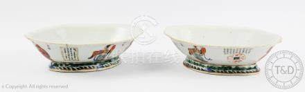 A pair of Chinese porcelain Wu Shuang Pu dishes, late 19th century,