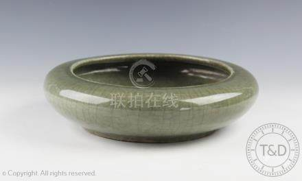 A Chinese porcelain Ge-ware type celadon brush washer, possibly 18th century,