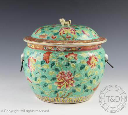 A large Chinese porcelain tureen and cover, 19th century,