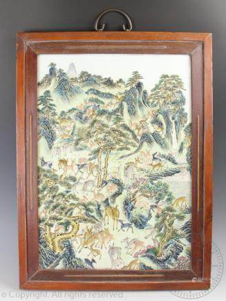 A Chinese porcelain 'One hundred deer' pattern plaque,