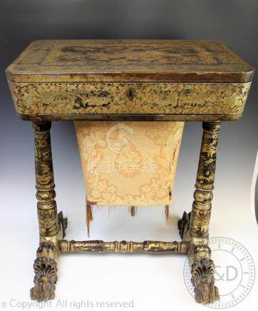An impressive 19th century Chinese European export lacquered sewing table,