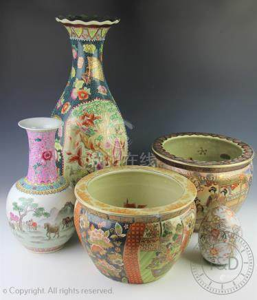 A collection of assorted 20th century Chinese and Japanese ceramics to include a Japanese fish bowl,