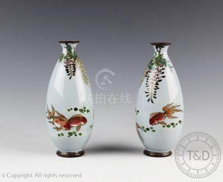 A pair of Japanese cloisonne vases, Meiji period,