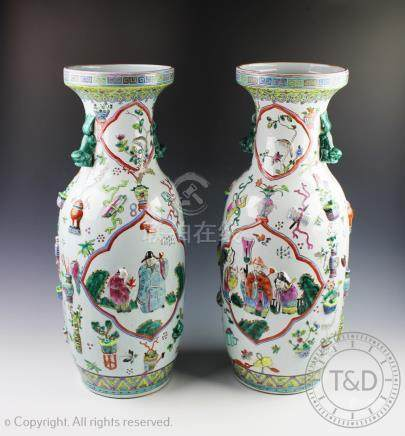 A large pair of Chinese 'one hundred antiques' pattern porcelain vases, Tongzhi seal mark,