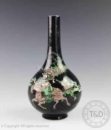 A Chinese porcelain famille verte bottle vase, Wanli six character,