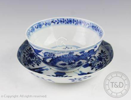 A Chinese porcelain blue and white saucer dish, late 18th century,