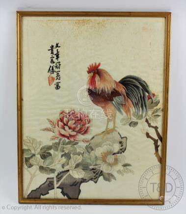 A pair of Chinese silk embroidered panels, 20th century, depicting a cockerel and an eagle,
