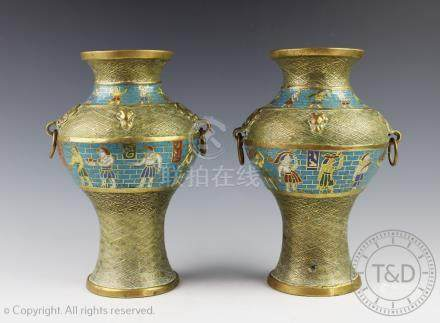 A pair of Egyptian Revival cloisonne vases, early 20th century,