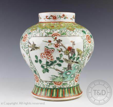 An early 19th century Chinese porcelain famille verte vase,