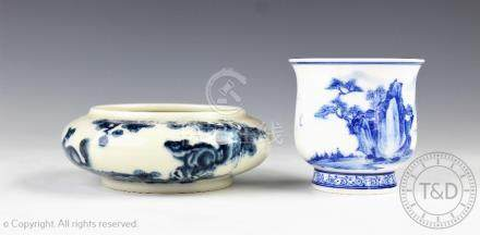 A Chinese porcelain blue and white brush washer, 20th century, decorated with pine trees,