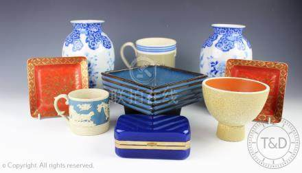 A collection of ceramics to include a pair of Japanese blue and white ovoid vases, 22cm high,