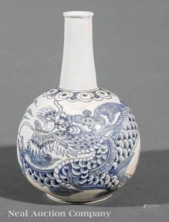 Korean Blue and White Porcelain Bottle Vase, Joseon Dynasty, 18th/19th c., globular lower body