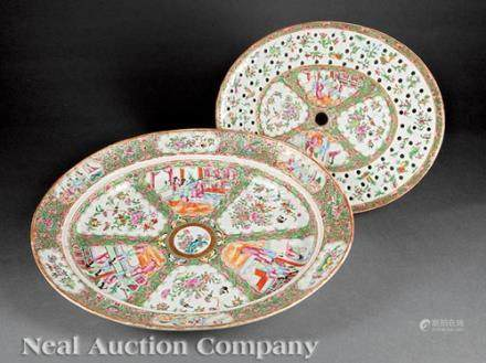 Chinese Export Famille Rose Porcelain Platter and Mazarine, 19th c., decorated in the \rose