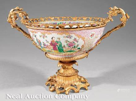 Gilt Bronze-Mounted \Famille Rose\ Porcelain Punch Bowl, possibly Samson, decorated in the Chinese