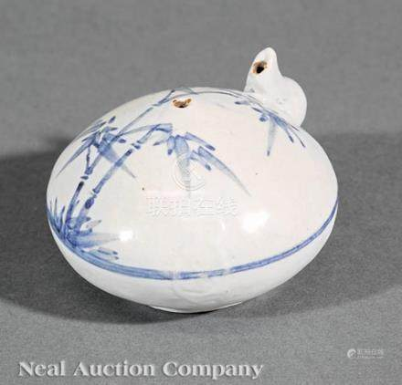 Korean Blue and White Porcelain Water Dropper, Joseon Dynasty, 19th c., compressed globular body